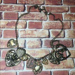Vintage Jewelry - Bold Filigree Heart Charm Necklace